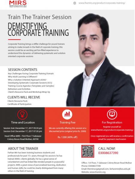Corporate Training – TT2 Session
